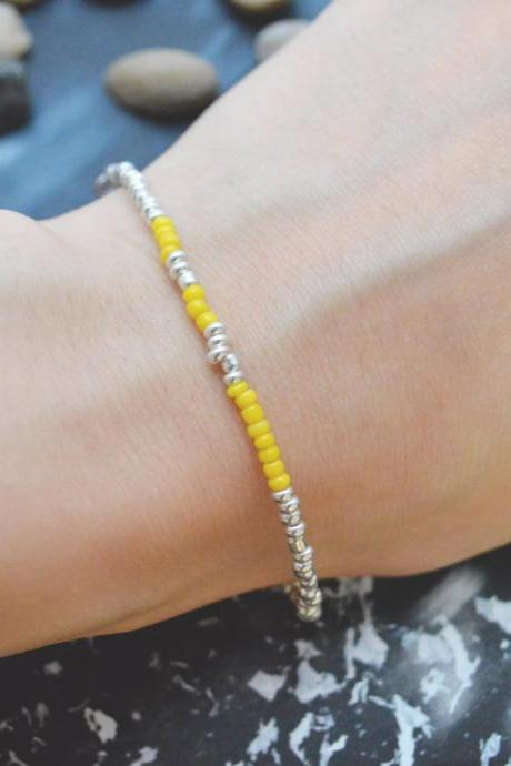 C-090 Silver Beaded bracelet, Seed bead bracelet, Yellow beads, Simple bracelet, Modern bracelet/Everyday jewelry/