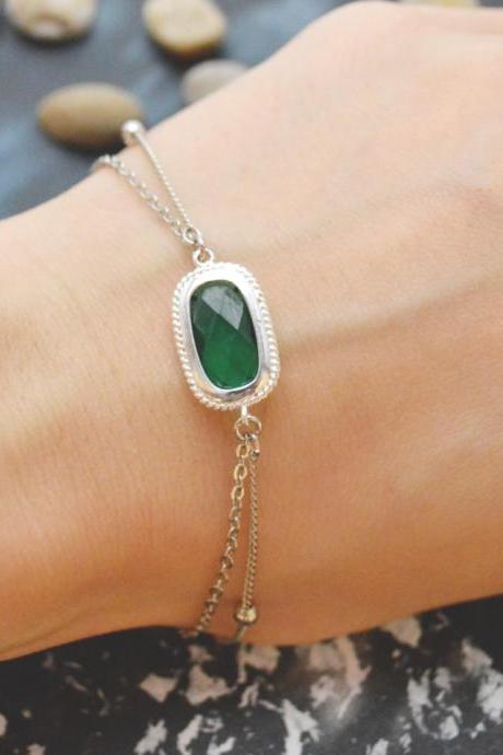 C-087 Emerald bracelet, Silver framed bracelet, Layered bracelet, Simple bracelet, Ball chain, Silver plated/Everyday jewelry/