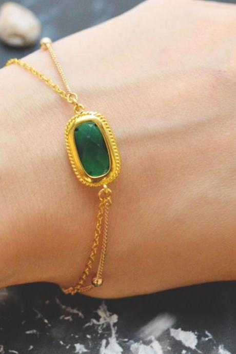 C-086 Emerald bracelet, Gold framed bracelet, Layered bracelet, Simple bracelet, Ball chain, Gold plated/Everyday jewelry/