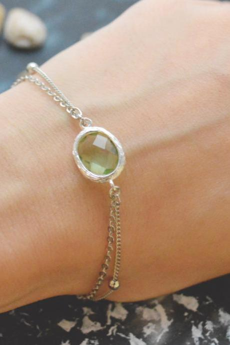 C-084 Peridot bracelet, Silver framed bracelet, Layered bracelet, Simple bracelet, Ball chain, Silver plated/Everyday jewelry/