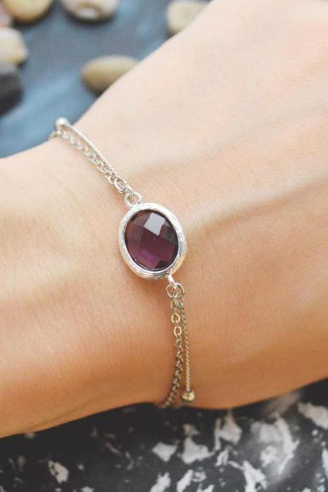 C-082 Amethyst bracelet, Silver framed bracelet, Layered bracelet, Simple bracelet, Ball chain, Silver plated/Everyday jewelry/