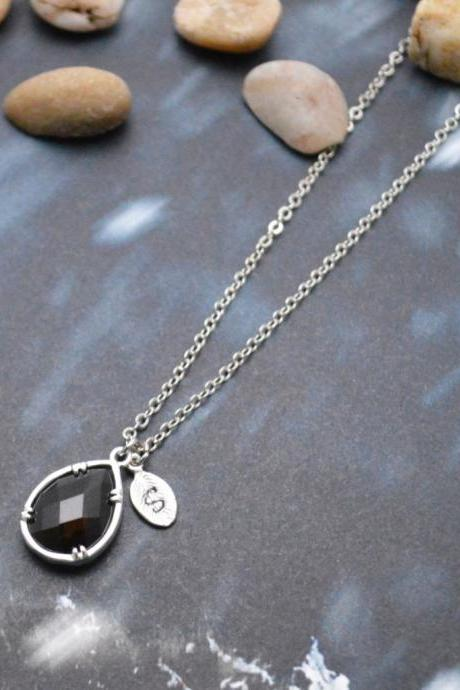 A-158 Hand stamped initial leaf necklace, Bezel set glass drop necklace, Silver plated chain/Everyday jewelry /Special gift/
