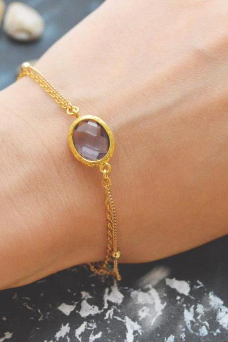 C-080 Tanzanite bracelet, Gold framed bracelet, Layered bracelet, Simple bracelet, Ball chain, Gold plated/Everyday jewelry/