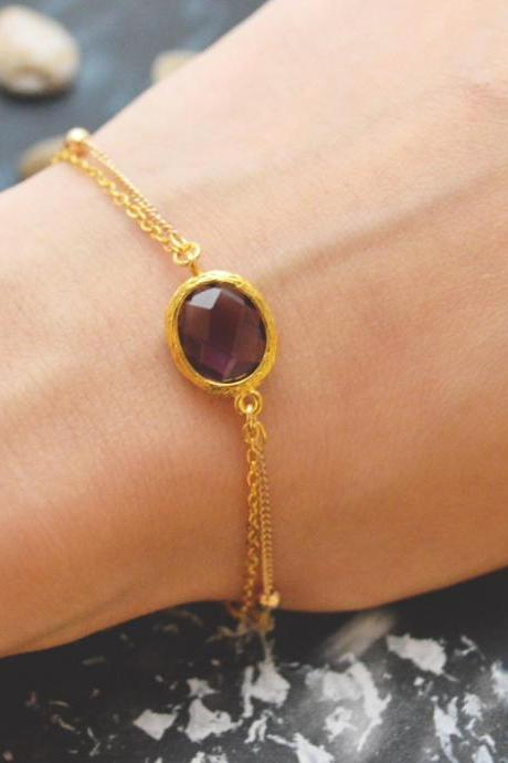 C-079 Amethyst bracelet, Gold framed bracelet, Layered bracelet, Simple bracelet, Ball chain, Gold plated/Everyday jewelry/