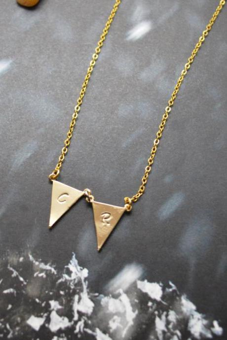 A-150 Hand stamped initial leaf necklace, Triangle necklace, Simple necklace, Modern necklace, Gold plated/Everyday jewelry /Special gift/