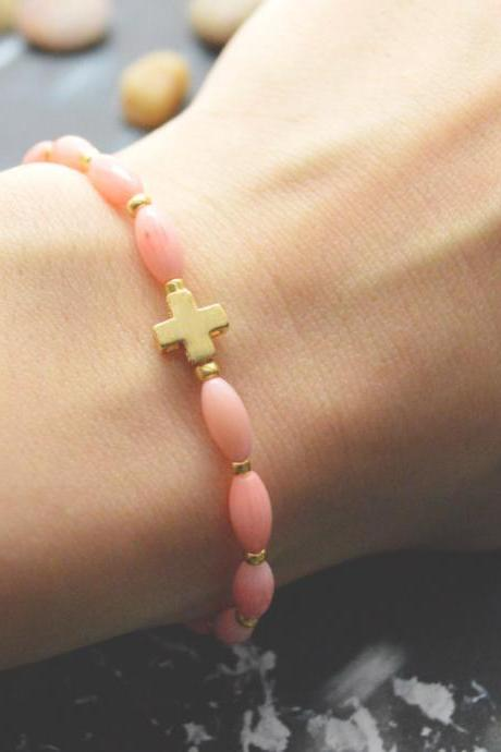 C-074 Rosary bracelet, Pink coral, Seed beads bracelet, Stretch bracelet, Stone bracelet, Cross bracelet, Gold plated/Everyday jewelry/
