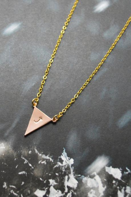A-148 Hand stamped initial leaf necklace, Triangle necklace, Simple, Modern necklace, Pink gold, Gold plated/Everyday jewelry /Special gift/