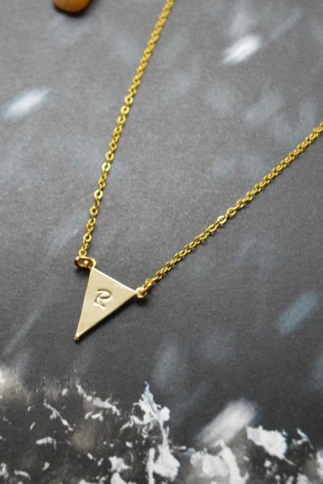 A-146 Hand stamped initial leaf necklace, Triangle necklace, Simple necklace, Modern necklace, Gold plated/Everyday jewelry /Special gift/