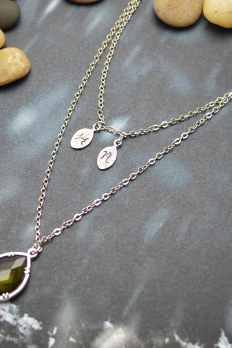 A-137 Hand stamped initial leaf necklace, Double strand, Layered, Drop necklace, Khaki, Silver plated/Everyday jewelry /Special gift/