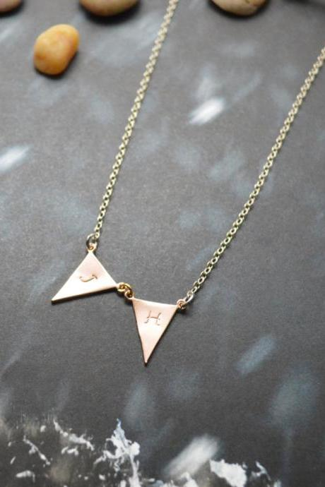A-151 Hand stamped initial leaf necklace, Triangle necklace, Simple, Modern necklace,Pink gold,Silver plated/Everyday jewelry /Special gift/