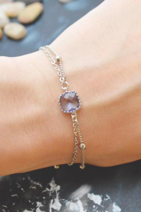 C-046 Tanzanite bracelet, Silver framed bracelet, Layered bracelet, Simple bracelet, Ball chain, Silver plated/Everyday jewelry/