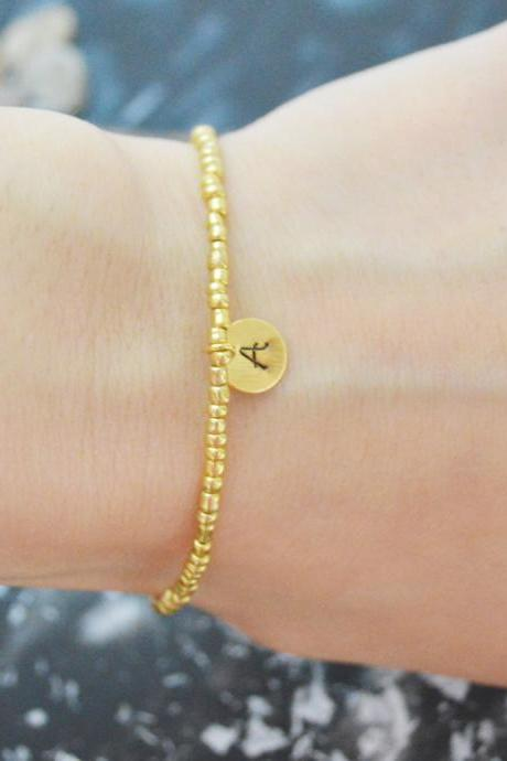 C-116 Gold Beaded bracelet, Seed beads bracelet, Personalized personal initial disc bracelet,Simple bracelet, Gold plated /Everyday jewelry/