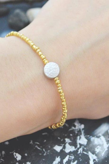 C-110 Gold Beaded bracelet, Seed beads bracelet, Coin bracelet, Simple, Modern bracelet, Silver plated /Everyday jewelry/