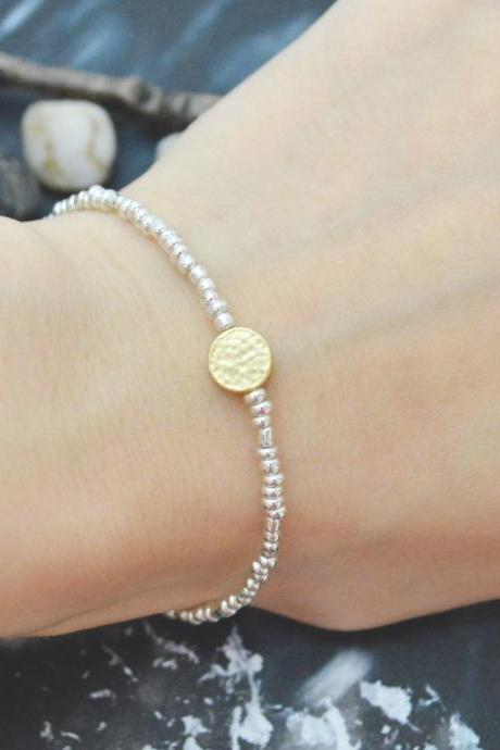 C-109 Silver Beaded bracelet, Seed beads bracelet, Coin bracelet, Simple, Modern bracelet, Gold plated/Everyday jewelry/
