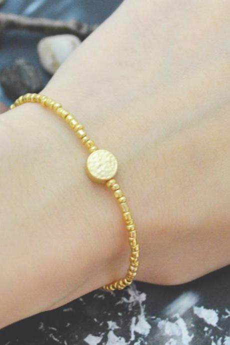 C-108 Gold Beaded bracelet, Seed beads bracelet, Coin bracelet, Simple, Modern bracelet, Gold plated /Everyday jewelry/