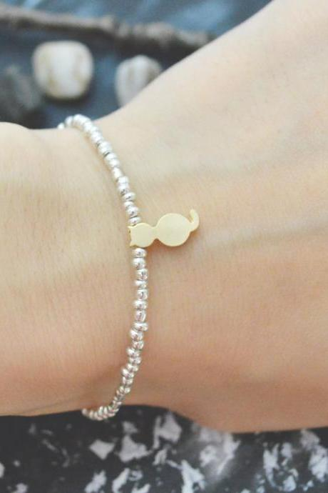 C-107 Silver Beaded bracelet, Seed beads bracelet, Cat bracelet, Simple, Modern bracelet, Gold plated /Everyday jewelry/