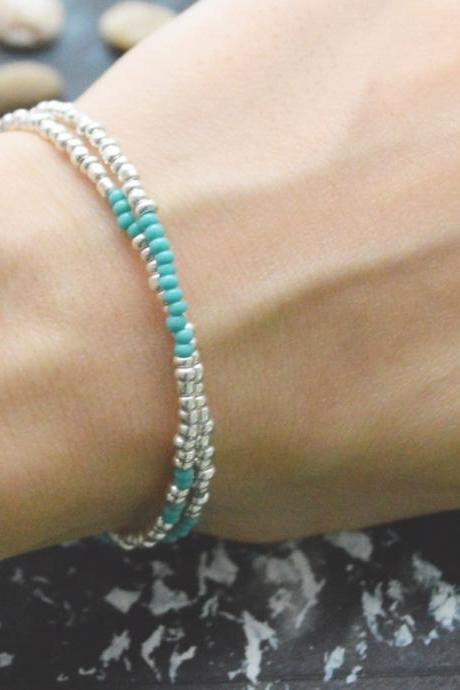 C-101 Silver Beaded bracelet, Layered, Double strand, Turquoise Seed bead bracelet, Simple bracelet, Modern bracelet/Everyday jewelry/