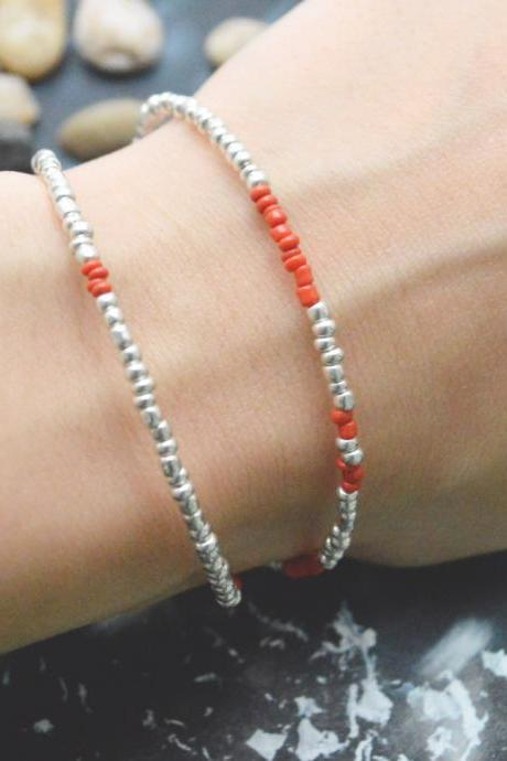 C-100 Silver Beaded bracelet, Layered, Double strand, Red Seed bead bracelet, Simple bracelet, Modern bracelet/Everyday jewelry/