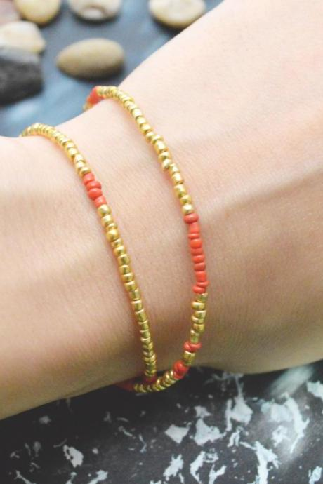 C-099 Gold Beaded bracelet, Layered, Double strand, Red Seed bead bracelet, Simple bracelet, Modern bracelet/Everyday jewelry/