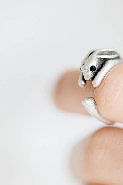 Vintage rabbit ring,Jewelry,Ring,comfortable ring,bridesmaids gift,wrap ring,adjustable ring ,animal ring,rabbit ring,rabbit jewelry,R253N