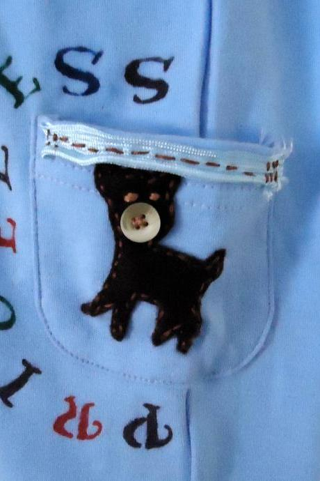 Baby Boy Pants Hand Embroidered With Animals And Cute Saying