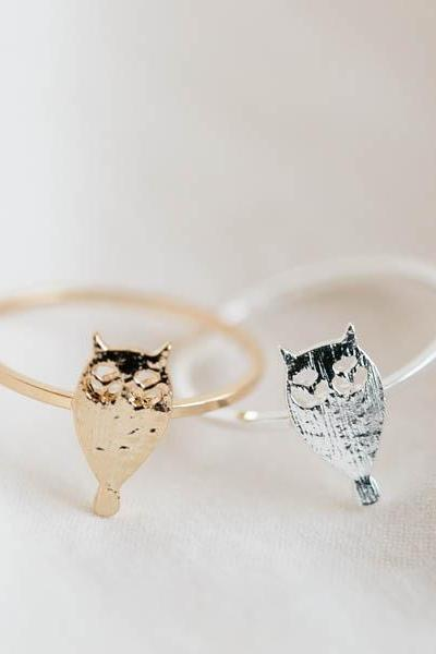 Owl knuckle ring,Jewelry,Ring,knuckle ring, cute ring,dark night,animal,owl ring,owl,animal ring,owl jewelry,wise owl,baby owl ring, R284N