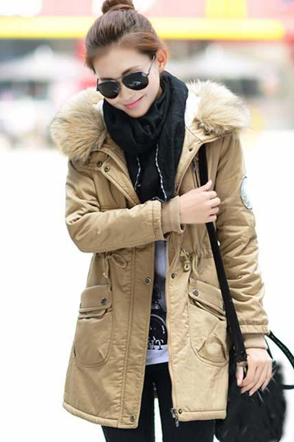 High Quality Fur Hat Zipper Closure Coat - Khaki
