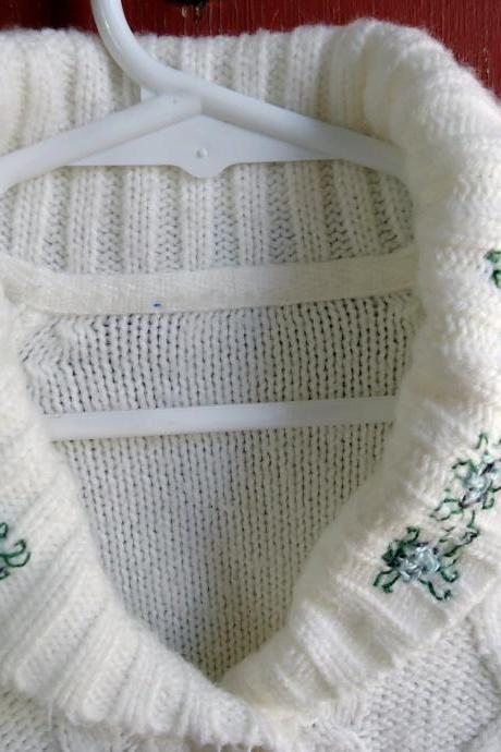 SPRING SALE CLEARANCE Knit Baby Sweater With Embroidered Flowers