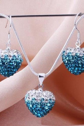 Fashion Heart Earrings Necklace Shamballa set 925 sterling silver High Quality JEWELLRY SET