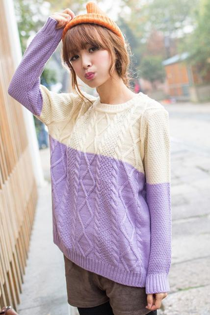 Loose Color Blocking Sweater Pullover - Beige&Purple
