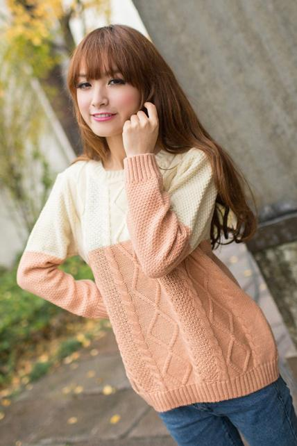 Loose Color Blocking Sweater Pullover - Beige&Pink
