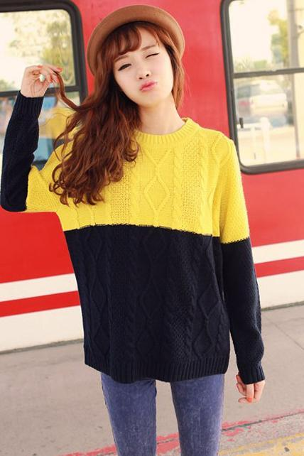 Loose Color Blocking Sweater Pullover - Yellow