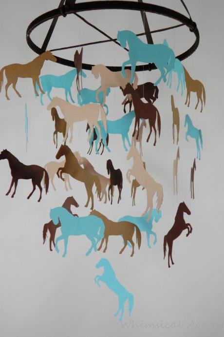 Horse Nursery Decorative Mobile in Aqua Blue and Browns