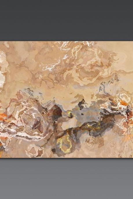 Large Triptych abstract art print on gallery wrap canvas, 30x60, in earth tones, 'Burn at Both Ends'