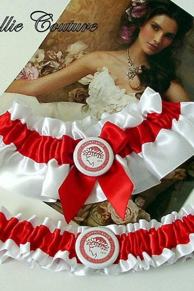 Olympiacos CFP, Soccer wedding garters, Greece Soccer garters, wedding garter set, bridal garter set