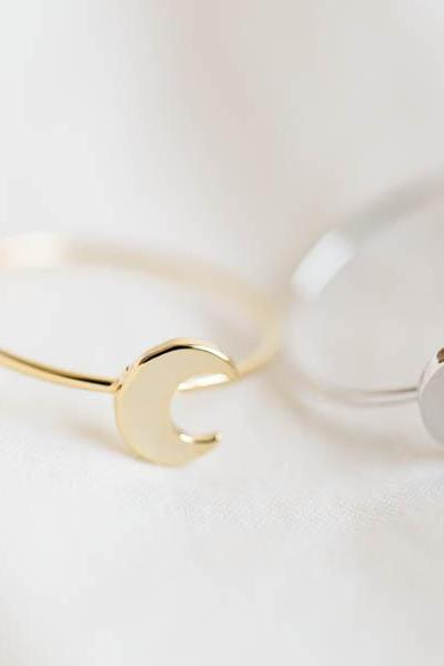 Flat crescent moon knuckle ring,Jewelry,Ring ,summer ring,Lunar,Crescent ring,midi ring,Moon ring,Crescent moon,Crescent moon ring,R275N