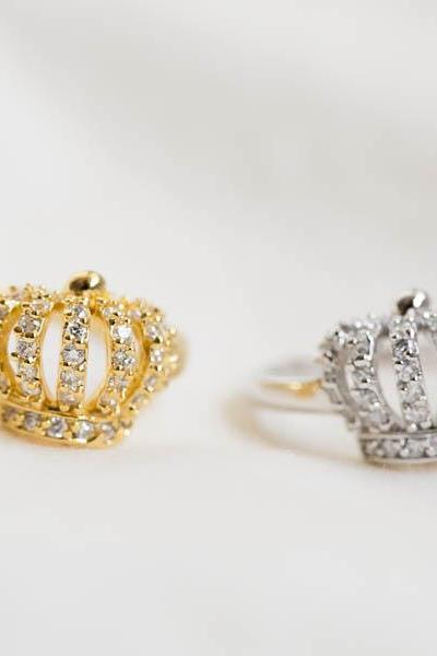 Well made king crown cz ring ,Jewelry,Ring,Band,bridal ring,wedding ring,bridesmaid ring,wedding ring,engagement ring,crown ring,R246N