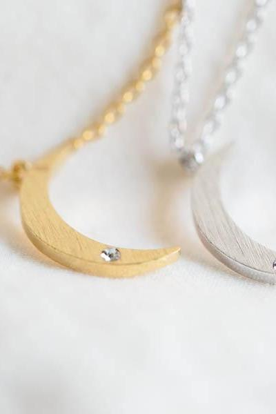Crescent moon necklace ,half moon necklace,cool necklace,girls necklace,anniversary necklace,womens necklace,bridesmaid necklace,N156K