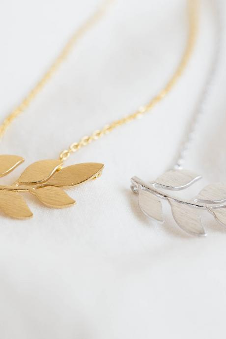 Laurel Leaf necklace, organic necklace ,nature necklace ,unique necklace,pretty necklace ,womens necklace,charming laurel necklace, N165K