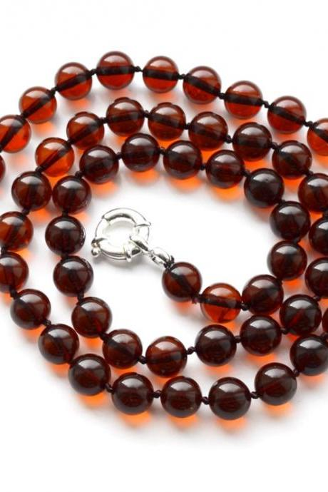 Round Amber beads cherry necklace jewelry Gift for Her or Him, Cherry rounded amber balls necklace 8,5 mm size long amber necklace 3013