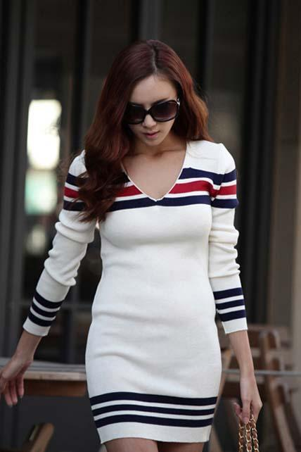 Sexy V Neck Striped Long Sleeve Sweater Dress