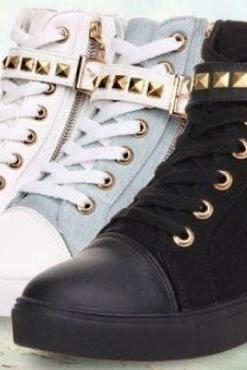 Casual High Top Sneaker w/ Skull Zipper (3 Colors)