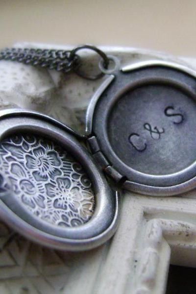 Antiqued Silver Petite Floral Locket - Hand Stamped and personalized secret message inside