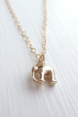 Tiniest, Cute, Baby Elephant, Gold Filled Chain, Necklace