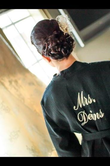 Bride Personalized Waffle Robe. With Backside Embroidery Included.