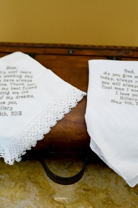 Personalized Wedding Handkerchief For Mom and Dad. Great Keepsake Gift.