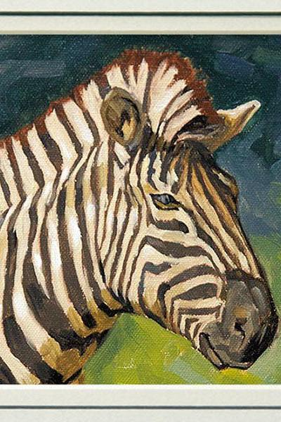 Giclee Print of Zebra Painting, Wildlife Art Print from Original Painting, 'Zee Zebra', in 8 x 10 double mat