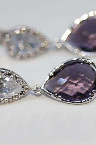 Wedding Earrings, Bridesmaid Earrings, Bridal Jewelry - Cubic Zirconia Teardrop Earring with Amethyst Fancy Glass (E311)