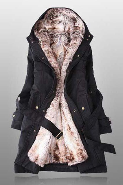 Faux Fur Warm Long Hooded Coat