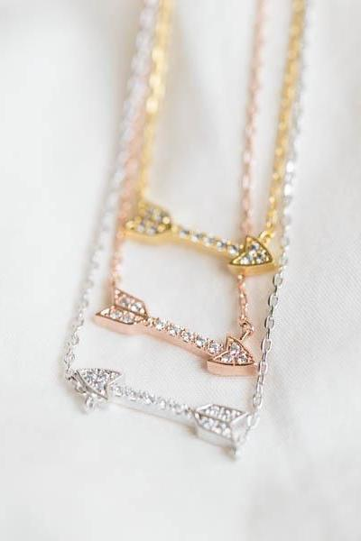 Cz arrow necklace,Jewelry,Necklace,anniversary necklace,bridesmaid necklace,bridal necklace,celebrity necklace,arrow necklace,N157K